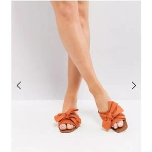 Park Lane Bow Flat Sandals Orange Square Toe 10